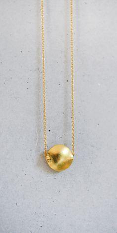 Gold Pebble Necklace. $34.00, via Etsy.