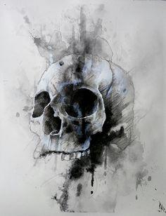 Watercolor skull art by @KenzieMillerArt  Mixed Media/watercolor on paper 11in. x 14in.  https://www.facebook.com/kenziemillerart  watercolor skull abstract ink pen pencil charcoal urban new