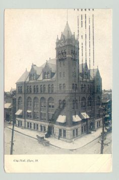 Elgin-Illinois-IL-City-Hall-1900s-UB-b-w