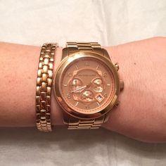 Michael Kors rose gold bracelet Gorgeous Michael Kors rose gold tone bracelet with MK emblem. Band is adjustable. NWOT. Note: watch is not for sale Michael Kors Jewelry Bracelets