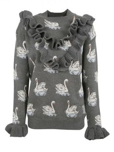 STELLA MCCARTNEY Stella Mccartney Swan Print Jacquard Jumper. #stellamccartney #cloth #sweaters
