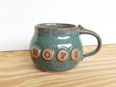 Pottery Mug in Sea Mist Glaze  Ceramic Coffee by dorothydomingo