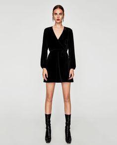 Image 1 of VELVET MINI WRAP DRESS from Zara