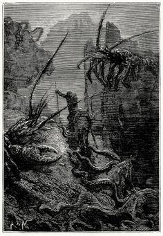 oldbookillustrations:  Giant lobsters, titanic crabs… Alphonse de Neuville, from Vingt mille lieues sous les mers (Twenty thousand leagues u...