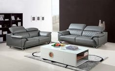 Shop high-quality contemporary and stylish home furnishings. The Divani Casa Wolford Modern Grey Leather Sofa Set features a tasteful boxy look with flared arms that gave Grey Leather Sectional, Leather Sofa Set, Sectional Sofa, Sofa Furniture, Living Room Furniture, Modern Furniture, Furniture Design, Garden Furniture, Sofa Design