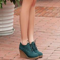2015 Nuevas Cuñas de las Mujeres Botas de Moda Rebaño de tacón Alto de la Plataforma de Tobillo Botas de Encaje Hasta zapatos de Tacón Alto de Primavera Otoño Zapatos De Mujer - Zapatos, bolsos y relojes tienda