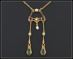 Rare 14k Gold Amethyst Peridot and Pearl American Suffragette Necklace