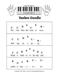 Yankee Doodle, pre staff piano sheet music with letters. A great piece for preschool and beginning piano lessons.