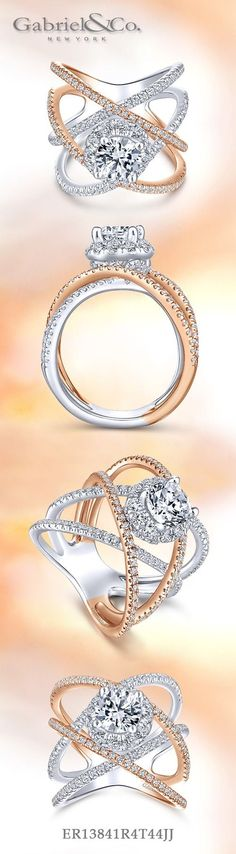 Gabriel NY - Voted #1 Most Preferred Fine Jewelry and Bridal Brand. 14k White/Rose Gold Round Halo  Engagement Ring