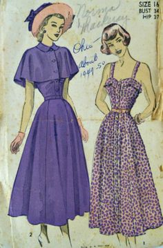 Vintage 40s Advance 4888 Pattern Misses Sundress with Cape