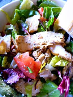 Fuji Apple Chicken Salad - This salad can be a simple on the side salad - or by adding sliced chicken you have a delicious light lunch or dinner! Love it from Panera bread <3