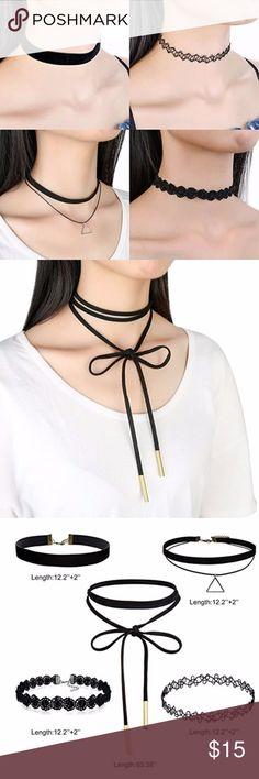 5 PCS Black Velvet Choker Necklace 5 different pieces of super cute chokers! Jewelry Necklaces