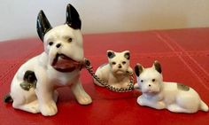 Boston Terrier Figurine With Babies Puppies On Chain Made In Japan. S5