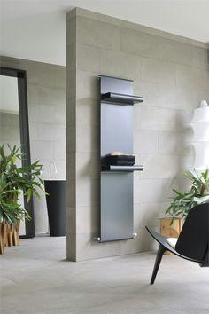 Love this steel minimal radiator that also heats towels! Modern Bathroom Design, Bathroom Interior Design, Bath Design, Home Radiators, Decorative Radiators, Furniture Decor, Furniture Design, Hydronic Heating, Radiator Cover