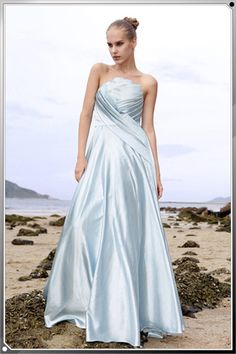 strapless simple satin ruffled evening gown (smaller pleats, fitted under bust line)