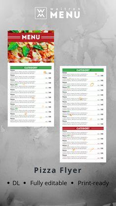 Pizza flyer template | Шаблон флаера для пиццерии Menu Online, Pizza Menu, Restaurant Menu Design, Web Browser, Grief