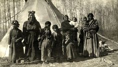 """White Whale people visiting their children at Red Deer Institute: """"These people traveled over a hundred miles..."""" 1914."""