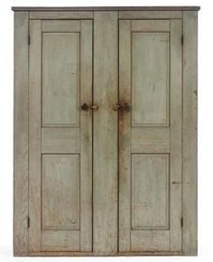 Rare & Important Early 19th C American Federal Blue Painted Two Door Cupboard Circa: 1795-1825.