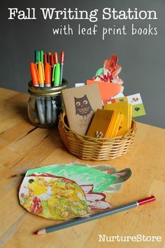 Fall writing station with leaf print books :: autumn writing activity :: leaf print craft for kids