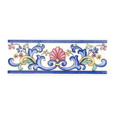 Merola Tile Galan Iris Cenefa 3 in. x 8 in. Ceramic Wall Trim - The Home Depot Blue And White Rug, Art Nouveau Tiles, Devian Art, Tuile, Wall Trim, Beautiful Flowers Wallpapers, Blue Pottery, China Painting, Arte Floral