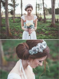 Butterfly hairpiece and smooth side bun up do. Hair Stylist: Portland Makeup and Hair #weddingchicks http://www.weddingchicks.com/2014/06/18/give-the-groom-a-real-cake/