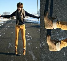 Yellow pants navy sweater beige brown tan shoes brown or gray scarf
