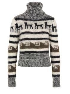 Joseph – womens cropped, super soft mohair and wool mix jumper with a multi Peruvian jacquard knit pattern, ribbed roll neck collar and long sleeves. £295 at Coggles.com