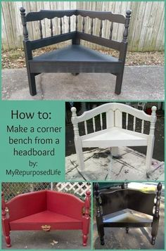 repurposed furniture how to make a headboard corner bench from Abbey Adique-Alarcon Adique-Alarcon Adique-Alarcon Adique-Alarcon Phillips wilson My REpurposed Life Refurbished Furniture, Repurposed Furniture, Furniture Makeover, Painted Furniture, Chair Makeover, Furniture Projects, Home Projects, Diy Furniture, Antique Furniture