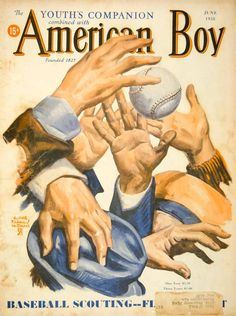 1938 Cover Youths Companion American Boy Edgar Franklin Wittmack Art Baseball  #vintage #baseball