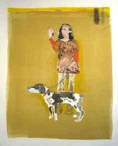 """MARK MULHERN, LADY WITH DOG, Monotype, 42 1/2 x 29 1/2"""""""