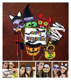 Halloween DIY photo booth props on a stick--these are not that cute, but I like the idea!
