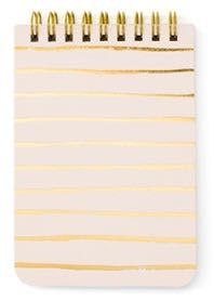 Petite Notes in pink is spiral bound with gold foil stripes on a pale pink background. 65 lined pages.