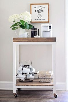 Coffee Bar at Home, Coffee Bar Ideas Kitchen, Bar Decor Ideas Home Diy Coffee Bar Ideas , Coffee Bar Ideas for Wedding, Small Space Coffee Bar Ideas bar design small spaces Diy Bar Cart, Gold Bar Cart, Bar Cart Styling, Bar Cart Decor, Bar Carts, Coffee Station Kitchen, Coffee Bar Home, Home Coffee Stations, House Coffee
