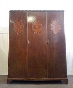 Antique oak triple / 3 door wardrobe   eBay