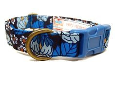 Moon Flower - Dark Light Blue Floral Flower Girly Vintage Organic Cotton Pet Collar - Handmade in the USA ** Click on the image for additional details. (This is an affiliate link and I receive a commission for the sales)