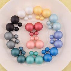 pendientes de la perla de la nueva manera del pendiente de la venta caliente de doble cara aretes de perla que brilla gran perla para las mujeres niña – MXN $ 30.27