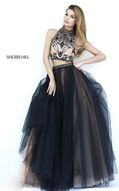 Black Two-Piece Beads Ball Gown 2015 Sherri Hill 11211