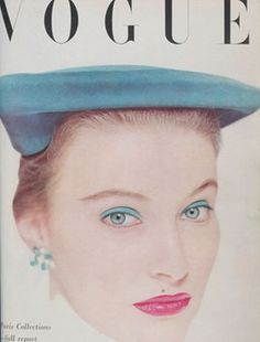 April 1951 Vogue. China blue velvet beret designed by Mr.John of New York.