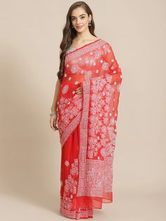 Ada Hand Embroidered Red Georgette Lucknow Chikan Saree With Blouse-A311271 saree weaved with white cotton thread. The fabric is lightweight and soft, best for any season use. Kindly WhatsApp us on +91-9919920030 for more assistance #Ada #Adachikan #chikankari #chikanembroidery #handcrafted #chikanwork #embroidery #chikanstitches #bakhiya #phanda #pechni #keelkangan #red #georgette #saree #sareewithblouse #worldwideshipping #handembroidered #chikankaricraft #indianfashion #traditionalcraft