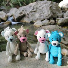 Hæklet Teddy bamse Opskrifter Go Handmade Chrochet, Dinosaur Stuffed Animal, Teddy Bear, Embroidery, Dolls, Disney, Animals, Amigurumi, Crochet