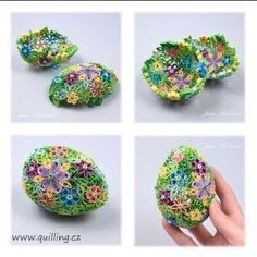 An awesome collection of 14 3D paper quilled eggs - a Quillspiration post this spring from Honey's Quilling