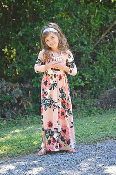 Blush Floral 3/4 Sleeve Maxi, Dress, Maxi, Sleeve Dress, Floral Dress, Ryleigh Rue Clothing, online shopping, Online Boutique, Boutique, Fashion, Style, Cute, Kids Boutique