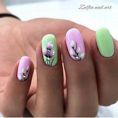 Nail Manicure, Gel Nails, Acrylic Nails, Acrylic Spring Nails, Pedicure, Stylish Nails, Trendy Nails, Floral Nail Art, Spring Nail Art