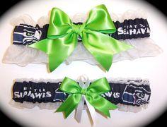 Handmade Wedding Garter Set Seattle Seahawks Keepsake and Toss Bridal agw1 on Etsy, $33.00