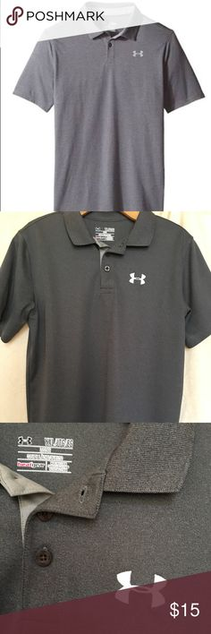 🖤 UNDER ARMOUR BOYS POLO SHIRT SIZE Y XL 🖤 UNDER ARMOUR Boys short sleeve polo in Heather Gray. Heat Gear fabric wicks away sweat and dries quickly. Light weight and very comfortable. Perfect for golf, dress, casual or school uniform. I bought this for my 14 year old son, but he has outgrown too quickly. First photo from online source. Size is Youth XL 🖤 Under Armour Shirts & Tops Polos