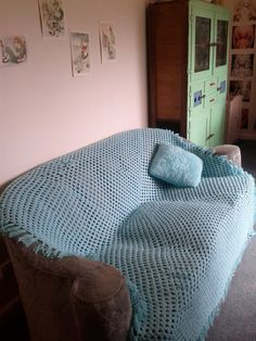 Vintage aqua pastel blue handmade crochet blanket with tassel edging bed cover shabby chic afgan. $30.00, via Etsy.