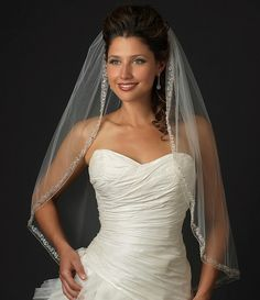 Rhinestone and Crystal Beaded Fingertip Wedding Veil V2078 - just stunning! www.affordableelegancebridal.com