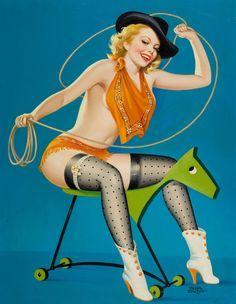 Illustrated by peter driben flirting, pin up girl vintage, vintage cowgirl, vintage art Pin Up Girl Vintage, Vintage Cowgirl, Vintage Art, Retro Art, Vintage Posters, Vintage Photos, Vintage Ladies, Photo Pin, Pin Up Art