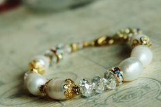 Pearl and Crystal Bracelet. Gold by JennyMoralesJewelry on Etsy