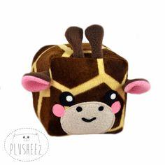 Giraffe cube plush toy kawaii novelty pillow minky soft faux fur loaf square safari stuffed animal by Plusheez on Etsy